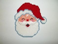 Your place to buy and sell all things handmade Plastic Canvas Christmas, Plastic Canvas Crafts, Plastic Canvas Patterns, Santa Ornaments, Dmc Floss, Christmas Cross, Refrigerator Magnet, Needlepoint, Crochet Projects