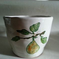 Milk cup with pear