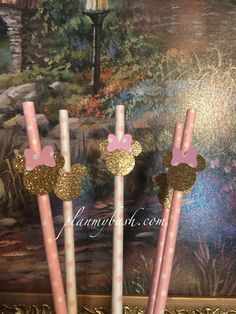 FREE SHIPPING, Minnie Mouse Pink Gold Party Straws, (SHIPFREE CODE)