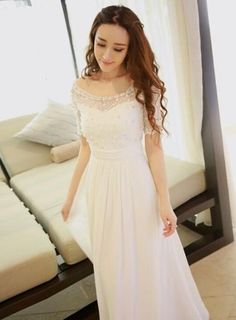 Cool long white dress with short sleeves 2017-2018 Check more at http://myclothestrend.com/dresses-review/long-white-dress-with-short-sleeves-2017-2018/