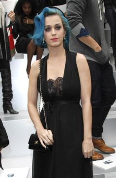 Katy Perry blue hair and black dress: http://www.glamour.co.za/fashion-celebrity/celebrity-news/632713.html