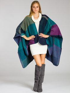 CASPAR Damen stylischer Wende-Poncho / Stola / Umhang / Überwurf / Strick - Cape beidseitig tragbar - PON006, Farbe:braun;Größe:One Size: Amazon.de: Bekleidung