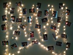 String lights + photos over the bed