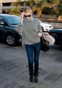Charlize Theron's Cozy Layers #indigogrey