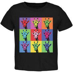 Giraffes Pop Art Repeating Squares Black Toddler T-Shirt