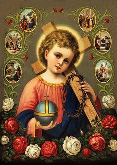 El Redentor del mundo a Jesús corona de espinas Cross St. Bütten Sankt A3 0121 - Biller Antik