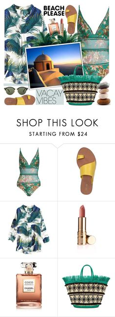 """Beach Please: Vacay Outfit !"" by euafyl ❤ liked on Polyvore featuring Diane Von Furstenberg, Chanel, Sensi Studio, Ray-Ban, Greece, Vacations, BeachPlease, vacayoutfit and summer2018"