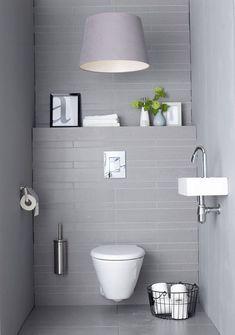 Small Minimalist Bathroom Design: So Can A Comfortable Guest Toilet Design Guest Toilet, Downstairs Toilet, Bathroom Toilets, Laundry In Bathroom, Bathroom Laundry, Bad Inspiration, Bathroom Inspiration, Toilet Room, Cheap Bathrooms