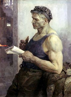 Vladimir Aleksandrovich Serov (1910-1968) - Portrait of worker, oil o canvas(610×829)