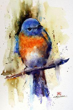 EASTERN BLUEBIRD Watercolor Print By Dean by DeanCrouserArt, $25.00