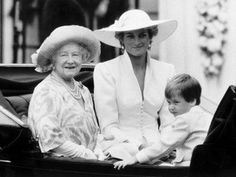 Diana, Princess of Wales, with the Queen Mum and Prince William