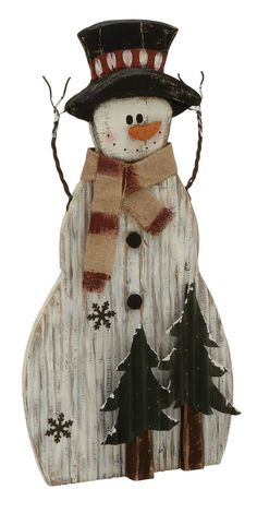 Features Product Made out of wood and metal In shades of white color Description: Deck up your home in a fascinating way this Christmas Wood Snowman, Primitive Snowmen, Snowman Crafts, Primitive Crafts, Primitive Christmas, Christmas Snowman, Rustic Christmas, Christmas Ornaments, Primitive Stitchery