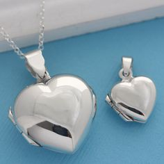 Items similar to Set Mother Daughter Locket Necklace, Genuine 925 Sterling Silver Heart locket Necklace. Lg and Sm locket included. Heart Locket, Locket Necklace, Necklace Set, Silver Lockets, Sterling Silver Jewelry, Mother Daughter Necklace, Heart Shaped Necklace, Quality Diamonds, Selling Jewelry
