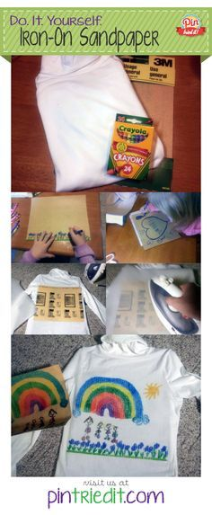 Sandpaper Iron-On Transfer Craft for Kids  (Read elsewhere it can be washed even -- recommend cold wash and hang to dry)