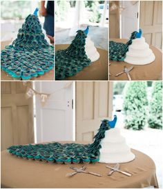 Peacock wedding with cake AND cupcakes to match!