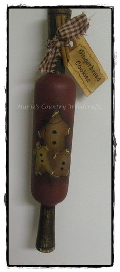 Hand painted wooden rolling pin gingerbread by MariesEpatternShop, $19.95 USD + shipping