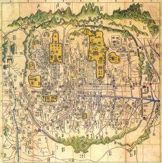 Old Map of Hanyang (Seoul) 1576