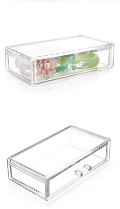 Crystal Cosmetic Organizer Clear Makeup Jewelry Cosmetic Storage Display Box Acrylic Case Stand Rack Holder Organizer BoxesR0010 | #MakeupStorage #StorageBoxes