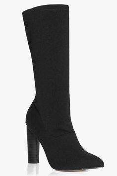 boohoo Jemima Calf High Cylinder Heel Sock Boot