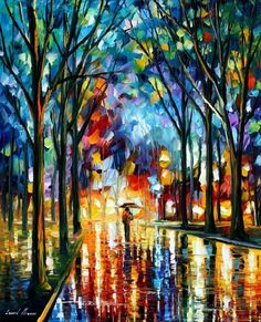 """WINTER ALLEY - PALETTE KNIFE Oil Painting On Canvas By Leonid Afremov - Size 24"""" x 30"""" - Afremov official online Art Gallery"""