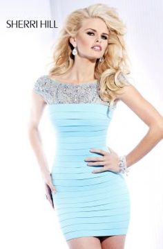 Sherri Hill Prom Formal Cocktail in Light Blue #PromPinParty