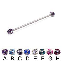 multi gem ball long barbell (industrial barbell), 14 ga.  #industrial #barbell #piercing #piercingjewelry #jewelry #bodypiercing #bodyjewelry ♥ $18.49 via OnlinePiercingShop.com