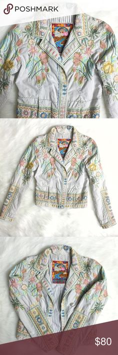 Biya Two Ten Ten Five Floral Embroidered Jacket Pre-loved in great condition, size Small. This Biya Two Ten Ten Five by Johnny Was Floral Embroidered Blazer Jacket is absolutely breathtaking! There is embroidery all over this jacket! Love the flowers on the shoulders that extend all the way down the sleeves. Looks great worn open or closed, with its 3 snap buttons. My favorite part is the large floral bouquet on the back, accented by more flowers & patterns on the bottom. Only flaw is a…