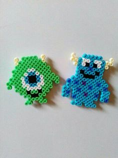 Fridge magnets - fridge magnets, ironing beads, Monster AG - a design . - Fridge Magnets – Fridge Magnet, Ironing Beads, Monster AG – a unique product by Astrid-Zaube - Easy Perler Bead Patterns, Melty Bead Patterns, Perler Bead Templates, Diy Perler Beads, Perler Bead Art, Pearler Beads, Beading Patterns, Peyote Patterns, Quilt Patterns