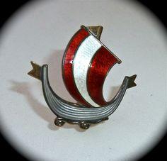 Norway Designer Sterling Enamel Viking Long Ship Pin