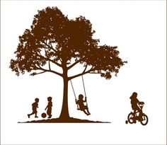 Perfect for the shop! Kids playing under a tree