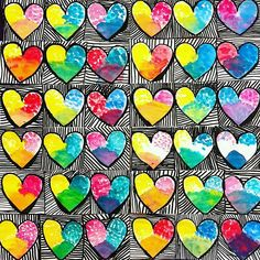 Mixing primaries to secondaries! Day Trace 3 hearts on a sheet of white. Show combinations in each w Liquid wc. Valentines Day Drawing, Valentines Art, Winter Crafts For Kids, Art For Kids, Art 2nd Grade, Classe D'art, Class Art Projects, Kindergarten Art, Collaborative Art