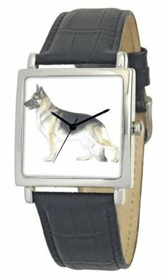 American Kennel Club Men's D1791S015 German Shepherd Silver-Tone Black Leather Watch American Kennel Club. $16.55. Officially licensed American kennel club breed artwork. Water-resistant to 99 feet (30 M). Genuine leather strap with buckle clasp. Precise, high-quality Japanese-quartz movement. Durable mineral crystal