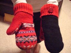 Fleece-Lined Upcycled Woolicious Mittens