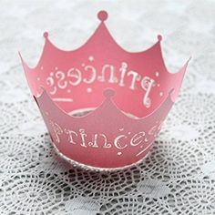 DUFUSTORE 50x Paper Vine Lace Cup Cake Wrappers Pink Princess Crown Design Style >>> For more information, visit image link.