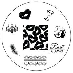 Rica GLAM01 by justricarda on Etsy, Stamping nail art plate featuring Marilyn Monroe herself, lace pattern, a peacock feather, a chandelier, a heart lip/kiss, a martini glass and a full nail design with heart lips-kisses all over.