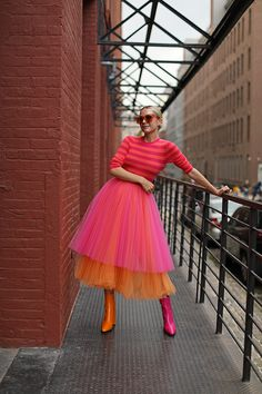 Tiered Tulle Skirt – Two-Tone Blair Eadie wearing a two-toned tier skirt with mismatched shoes // See more bright outfits and tulle skirts on Atlantic-Pacific Mode Outfits, Fall Outfits, Fashion Outfits, Womens Fashion, Workwear Fashion, Fashion Blogs, Petite Fashion, Fashion Trends, Gypsy Fashion