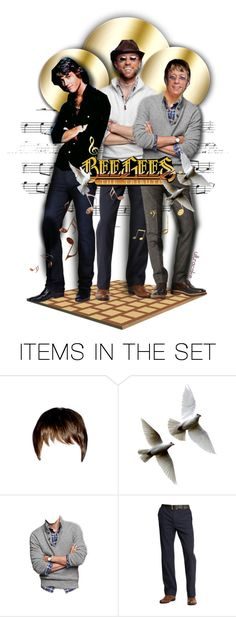 """""""The Bee Gees"""" by ultracake ❤ liked on Polyvore featuring art, music, dolls, tribute, ultracake and BeeGees"""