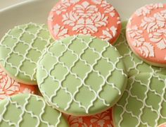 Beautiful quatrefoil and damask cookies by SweetSugarbelle.
