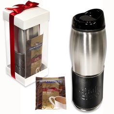 LG-9200 Leather-Wrapped Tumbler with Ghirardelli® Hot Cocoa. Includes the LG-9103 Leather-Wrapped Tumbler with two packets of Ghirardelli® Premium Hot Cocoa Mix. Tumbler is 16 oz. insulated stainless steel with black plastic liner and splash-resistant SAN acrylic drink-through lid. Bonded leather wrap removes for washing.