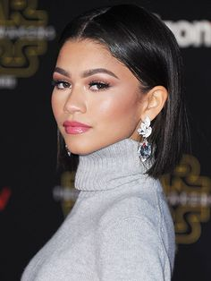Zendaya Coleman - Best Hairstyles: ear-tucked bob at the Los Angeles premiere of Star Wars: The Force Awakens | allure.com