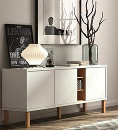 Avoid clutter in the kitchen and add a sleek touch to décor with the Tema Niche Sideboard with Legs . Featuring plenty of storage, this sideboard. Sideboard Decor, Decor, Furniture Design, Furniture, Interior, Master Bedrooms Decor, Home Decor, House Interior, Sideboard Designs