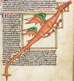 Британская библиотека, Харли 3244, деталь F.  58R.  Бестиарий.  Тысяча двести тридцать шесть-c.1250