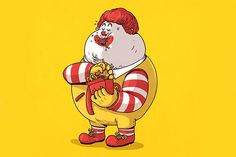 The McDonald's mascot has promoted a fast-food diet to kids since 1963. It sure looks like a diet of burgers and fries has finally caught up with him. (Illustration: Alex Solis)