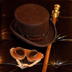 Preeminent Steampunk Costume Ensemble - Amazing Dickens Style Wool Top Hat, Brass and Hardwood Telescope Cane, and Vintage Leather Goggles