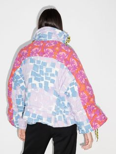 Cool Coats, Patchwork Designs, Puffer Jackets, Pink Blue, Rave, Women Wear, Banks, Long Sleeve, Sleeves