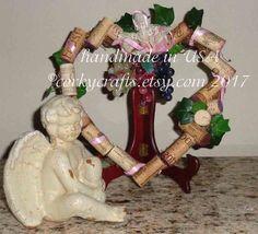 Heart Shaped Wine Cork Wreath Valentine's Day decor by Corkycrafts