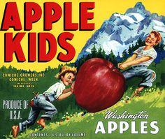 This fruit crate label was used on Apple Kids, c. 1950s: 'Apple Kids Washington Apples. Cowiche Growers Inc., Cowiche, Wash. Sales Office Yakima, Wash. Produce of U.S.A. Contents 1 U.S. Bu. by Volume.