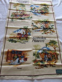 Australian Vintage Linen Tea towel - Australian Pioneers - Brown, Green and Blue - Vintage Linen Towel - Designed in Australia - Souvenir by MomsGiftShoppe on Etsy