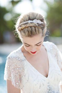 Destination Weddings - Hairpiece by Emma Shoes - On http://www.StyleMePretty.com/destination-weddings/2014/03/24/elegant-ibiza-wedding/ Gypsy Westwood Photography