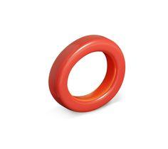 Ariodante Bracelet en bois laqué coquelicot/orange foncé (diamètre intérieur: 7 cm)